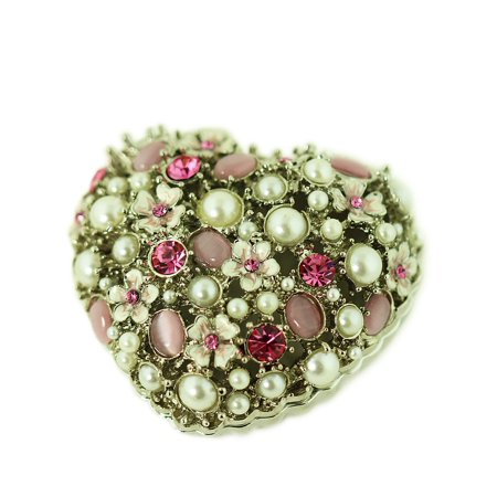 Heart Trinket Box with Pearls and Crystals ()