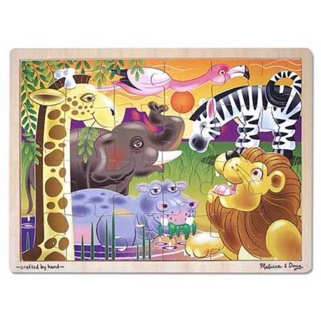 Melissa & Doug African Plains Safari Wooden Jigsaw Puzzle With Storage Tray (24 - Wood Jigsaw Safari Puzzle