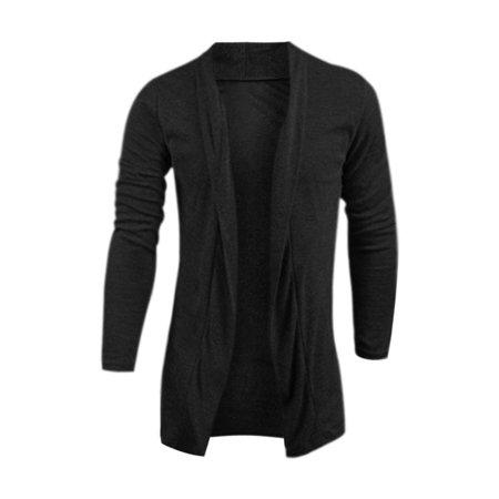1d051038d Unique Bargains - Men Open Front Long Sleeves Shawl Collar Cardigan ...
