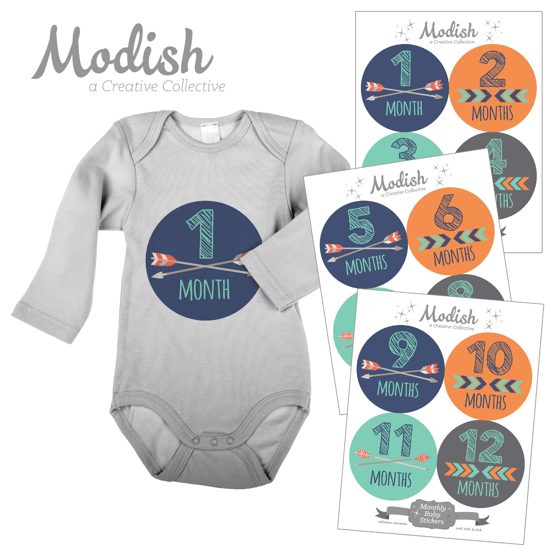 Modish Monthly Baby Stickers, Boy, Tribal, Arrows, Chevron, Orange, Navy Blue, Teal, Gray, Baby Photo Prop, Baby Shower Gift, Baby Book Keepsake