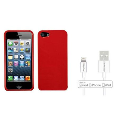 Insten Solid Flaming Red Case For iPhone SE / 5S / 5 (+ Apple Certified Lightning to USB