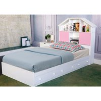 Commodious Glossy White Finish Chest Bed With 3 Drawers.