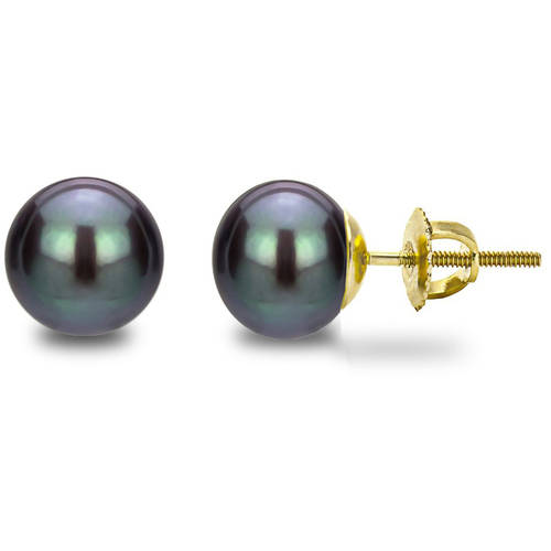 7-8mm Button-Shape Black Freshwater Pearl 14kt Yellow Gold Screw-Back Stud Earrings by Generic