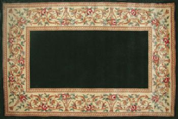 30'' x 50'' Ruby Series Wool Hearth Rug Black With Floral Border by
