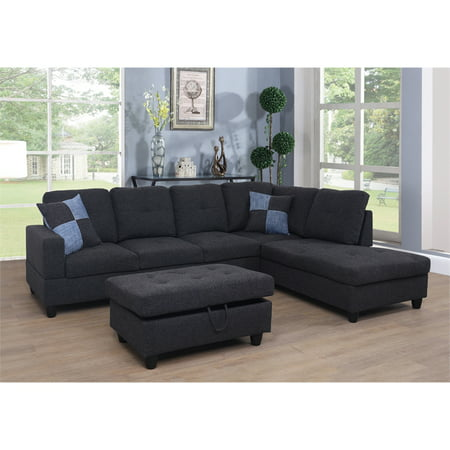 Vernes Linen Sectional Sofa with Ottoman ()