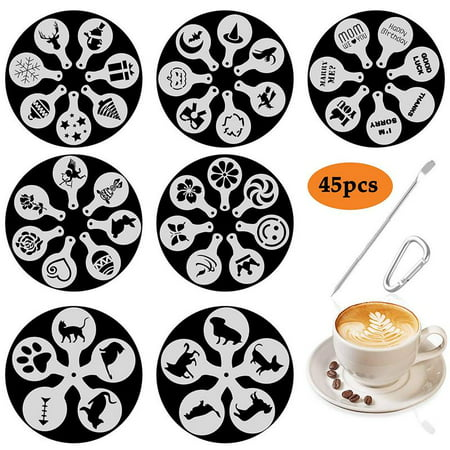 45 Patterns Cappuccino Coffee Stencils Templates Dogs, Cats, Words Valentine's Day, Easter, Halloween, Christmas  Stencils for Coffee Decorating, Cookie Icing, Muffin, Cupcake Décor