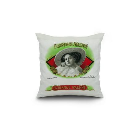 Florence Walton Brand Cigar Box Label 18x18 Spun Polyester Pillow Cust