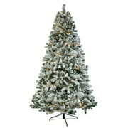 7.5ft Pre-lit Light Artificial Christmas Tree for Outdoor, Xmas Pine Tree with Light, 1450 Tips, Solid Metal Legs, Flocked Pine Automatic Tree Perfect for Indoor and Outdoor Holiday Decoration, S9535