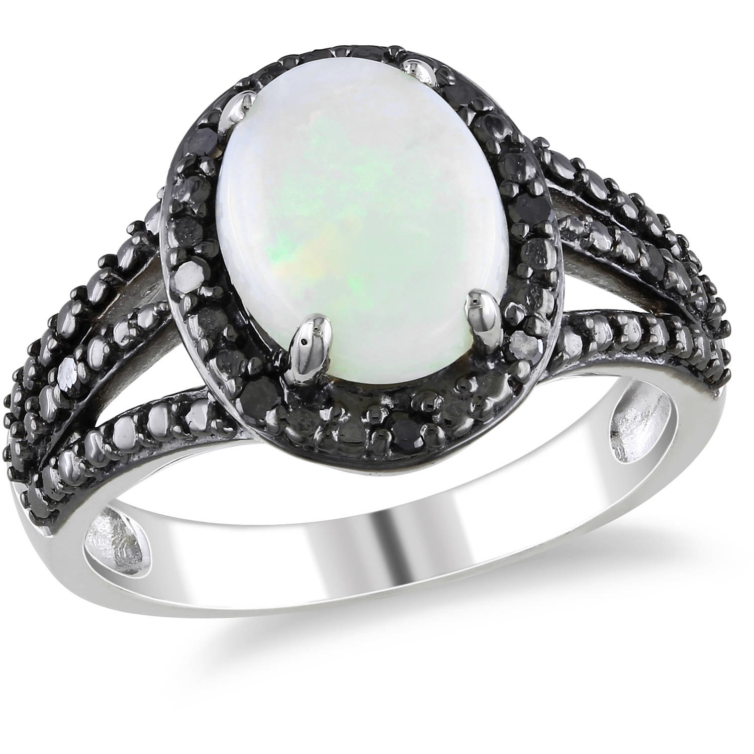 1-5 8 Carat T.G.W. Cabochon Opal and Black Diamond-Accent Sterling Silver Halo Cocktail Ring by Delmar Manufacturing LLC