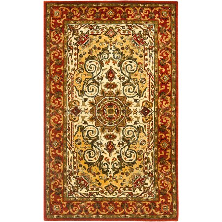 Heriz Persian Wool Area Rug - Safavieh Persian Legend Galati Hand Tufted New Zealand Wool Area Rug, Ivory and Rust