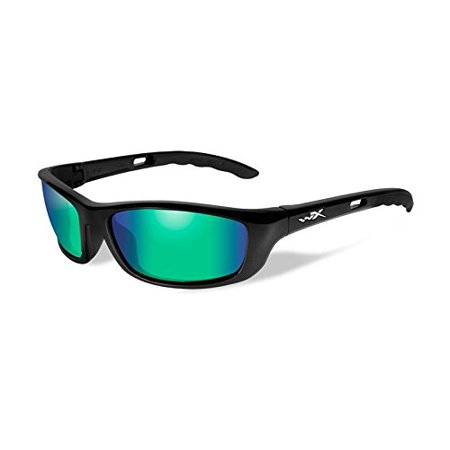 Wiley X P-17 Sunglasses, Polarized Emerald Mirror, Gloss Black