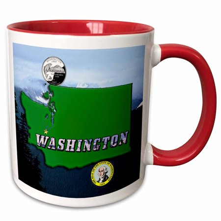 3dRose State Map, Quarter, Seal, Mt. Olympus and Picture Text - Two Tone Red Mug, 11-ounce