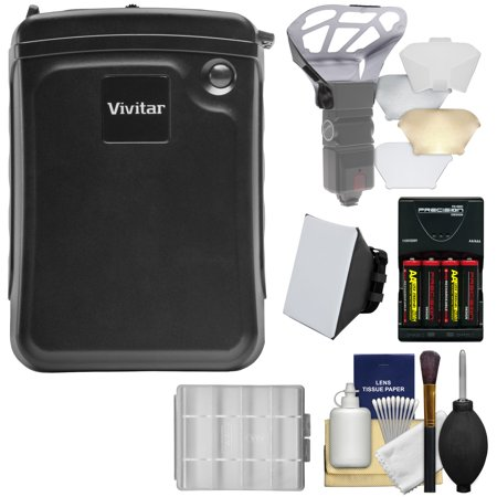 Vivitar External Battery Power Pack with Batteries & Charger + Diffusers Kit for Canon 580EX II, 600EX-RT, Nikon SB-900, SB-910 Speedlight (Nylon External Frame Pack)