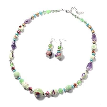 Green Ceramic and Bead Earrings and Necklace 32-34