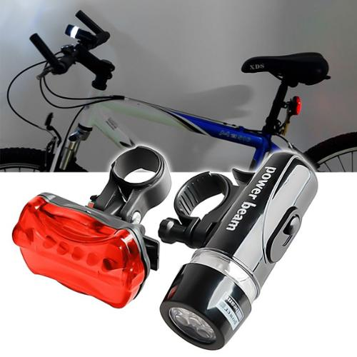 Insten 2-Set Bike Bicycle Front Headlight and Taillight Set (Rear Lamp contains 5 LED lights Multi-Modes Signal)