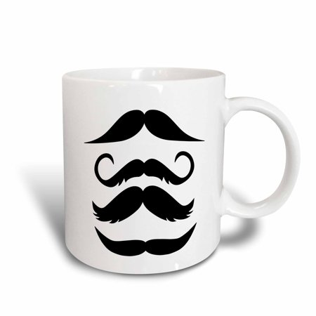 3dRose Four Black Mustaches, Ceramic Mug, 11-ounce