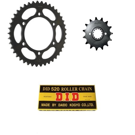 DID Standard 520 Chain Natural, SUNSTAR Front & Rear Sprocket Kit for Street KAWASAKI EX250 Ninja 1986-1987