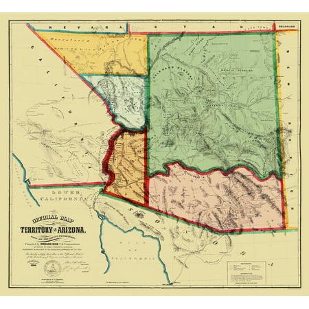 Arizona Territory - Gird 1865 - 25 x 23 Arizona Wall Map