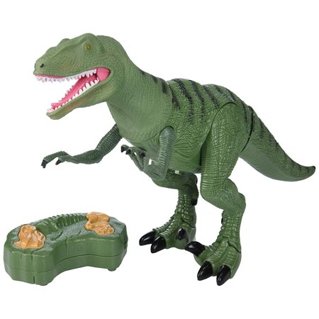 RC Dinosaur Planet Remote Controlled Battery Operated RC Toy Deinonychus Raptor Figure w/Shaking Head, Walking Movement, Light Up Eyes & Sounds - Dinosaur Animal Planet