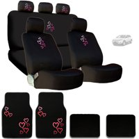 Ultimate Love Pink Red Hearts Car Seat and Headrest Covers with Carpet Floor Mats Set - Shipping Included