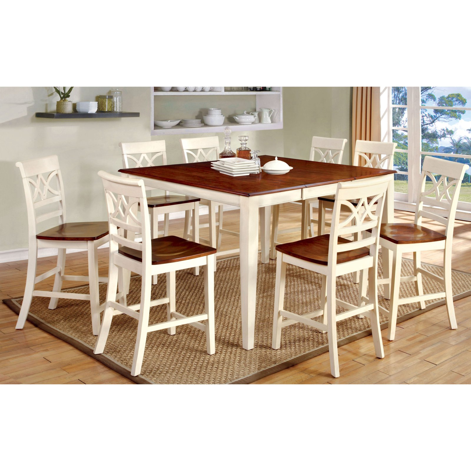 Furniture Of America Seaberg Country White 9 Piece Counter Height Dining Set