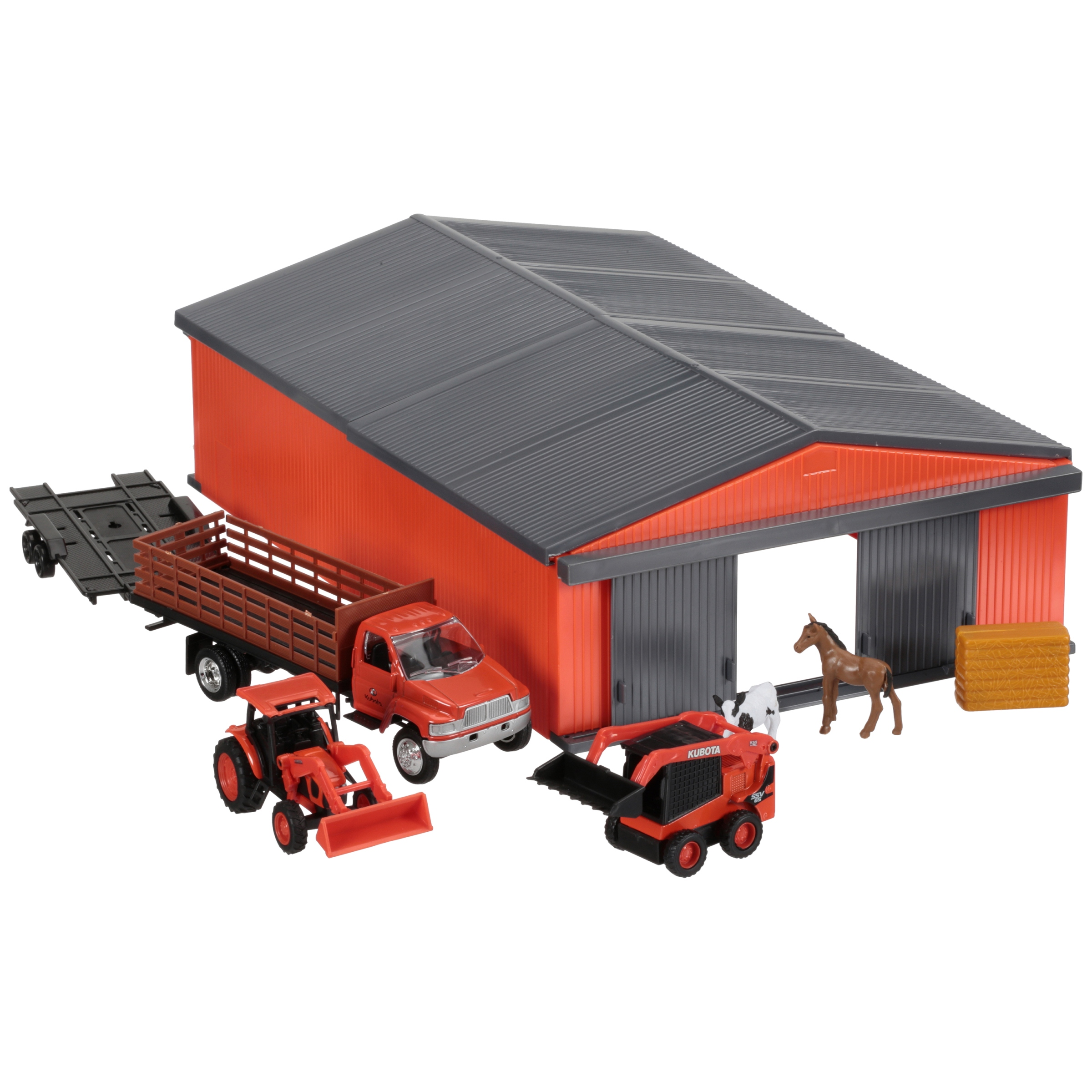 Kubota Farm Equipment Vehicles & Shed Toy Set 18 pc Box by Kubota Tractor Corporation