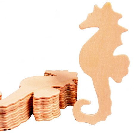 Creative Hobbies Unfinished Wood Seahorse Cutout Shapes, 5 Inch Tall, Ready to Paint or Decorate, Pack of 12](Hobby Wood)