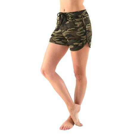 Womens Camo Pattern Print Green Army Shorts (Camouflage Print Shorts)