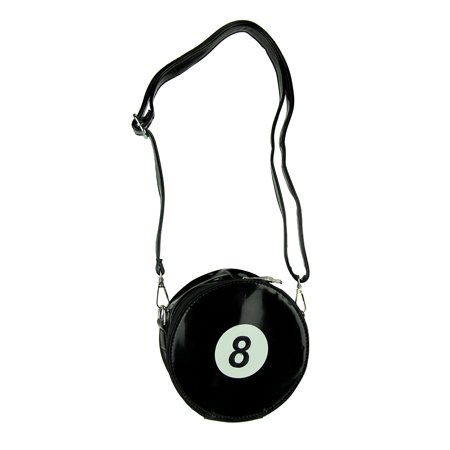Billiards 8 Ball Black Patent Vinyl Cross Body Purse - image 3 de 3