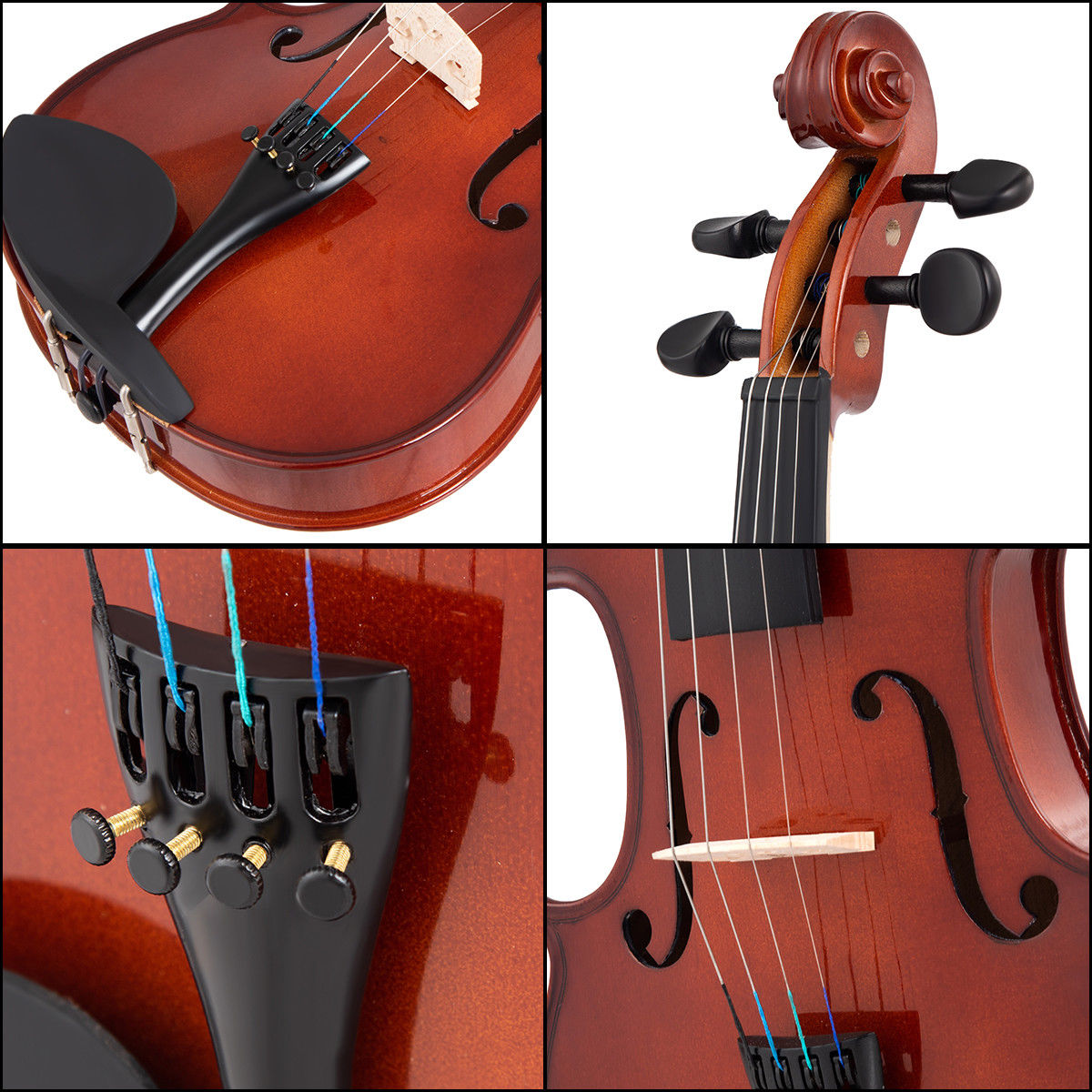 Full Size 4/4 Violin Solid Wood w/ Hard Case Bow Rosin Bridge Student Starter - image 6 de 10