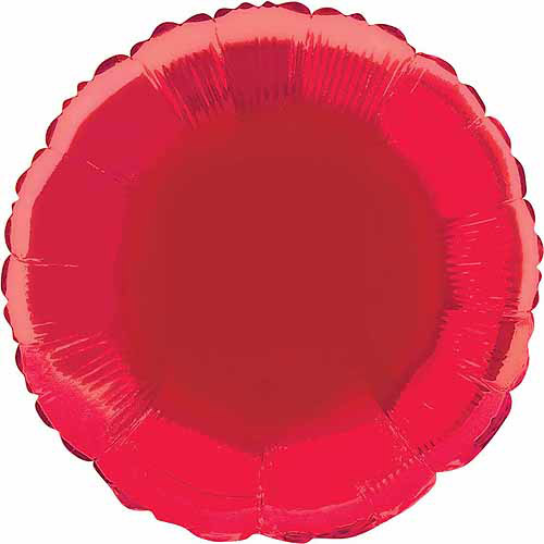 Foil Balloon, Round, 18 in, Red, 1ct