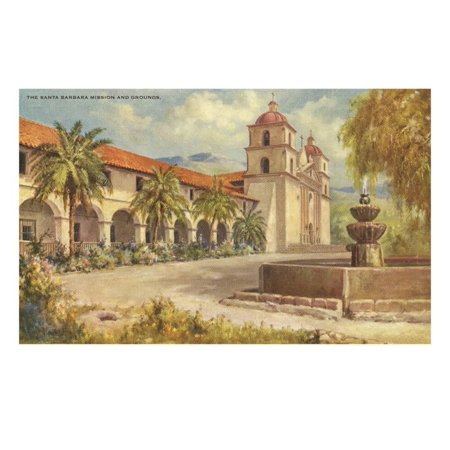 Santa Barbara Mission and Grounds Print Wall Art