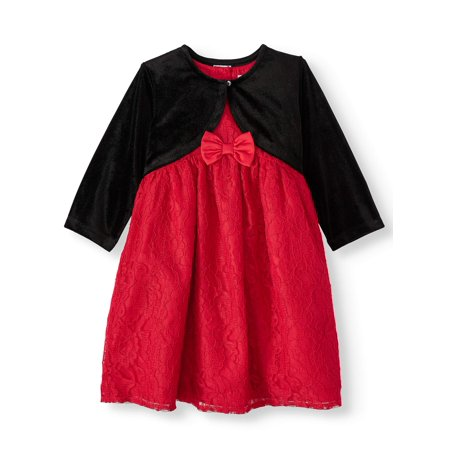 Wonder Nation Baby Toddler Girl Christmas Holiday Lace Dress ()