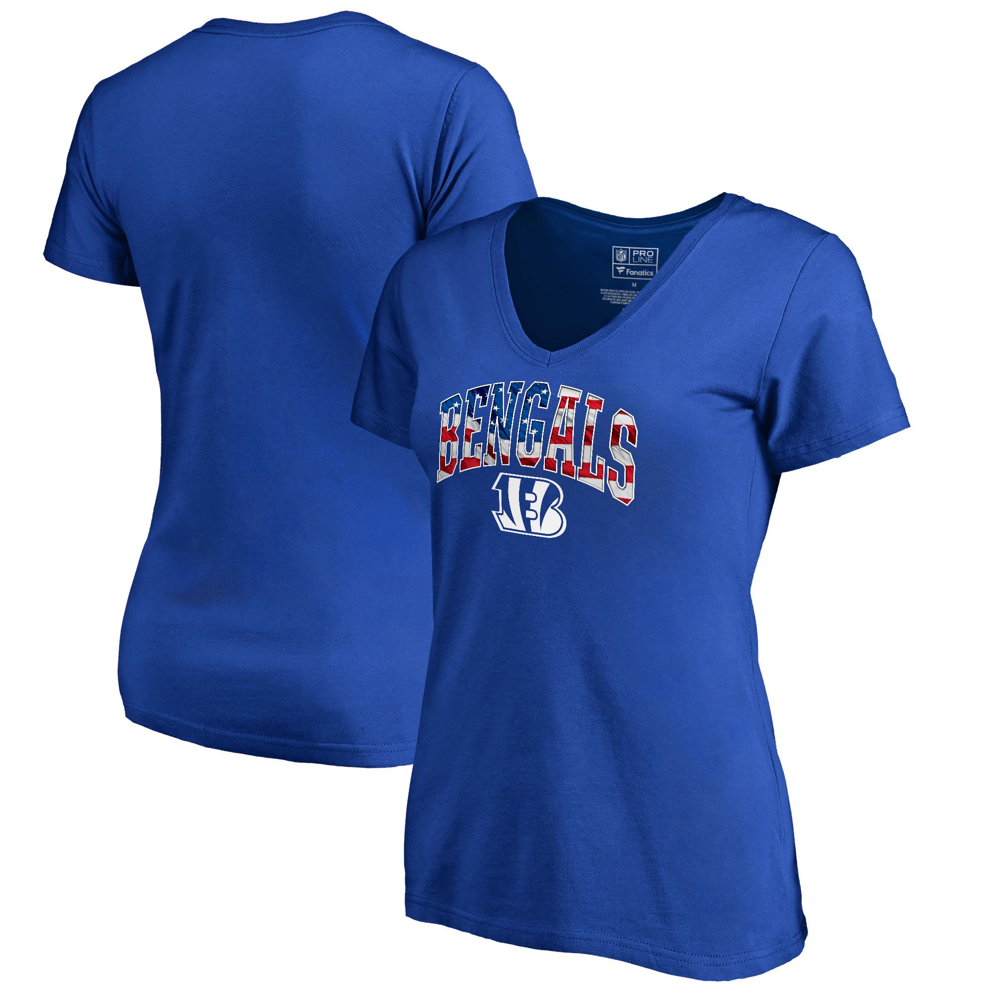 Cincinnati Bengals NFL Pro Line by Fanatics Branded Women's Banner Wave Plus Size V-Neck T-Shirt - Royal