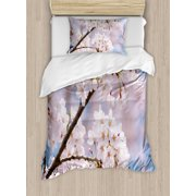 Spring Duvet Cover Set, Floral Tree Branches Cherry Blossoming Petals Buds Flourishing Natural Landscape, Decorative Bedding Set with Pillow Shams, Baby Pink, by Ambesonne