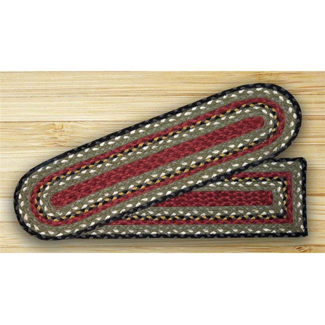 Earth Rugs 19-338 Burgundy-Olive-Charcoal Oval Stair Tread