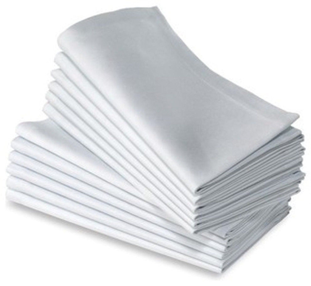 "GHP 24-Pcs White 21""x21"" 100% Cotton Home/Wedding Linen Table Dinner Napkins"
