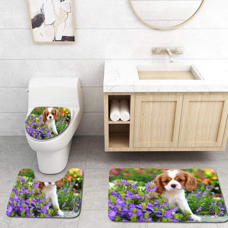 Charles Toilet (GOHAO Cavalier King Charles Spaniel Puppy 3 Piece Bathroom Rugs Set Bath Rug Contour Mat and Toilet Lid Cover)