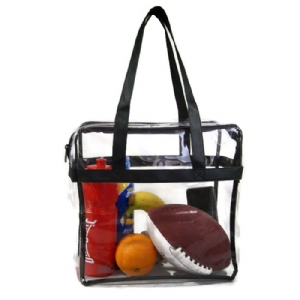 Deluxe Clear Tote Bag w/Zipper, NFL Stadium Approved Security Bag, Clear Vinyl, Shoulder Straps, Black Trim, Heavy Duty