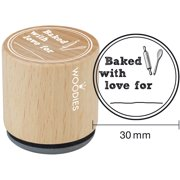 """Woodies Mounted Rubber Stamp 1.35""""-Baked With Love For"""