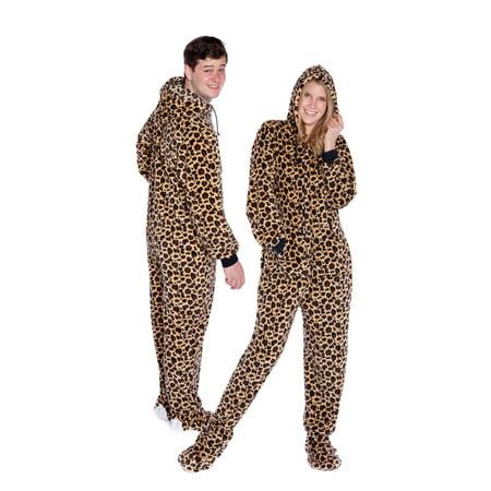 Big Feet Pjs Leopard Print Hoodie Adult Plush Footed Pajamas Sleeper