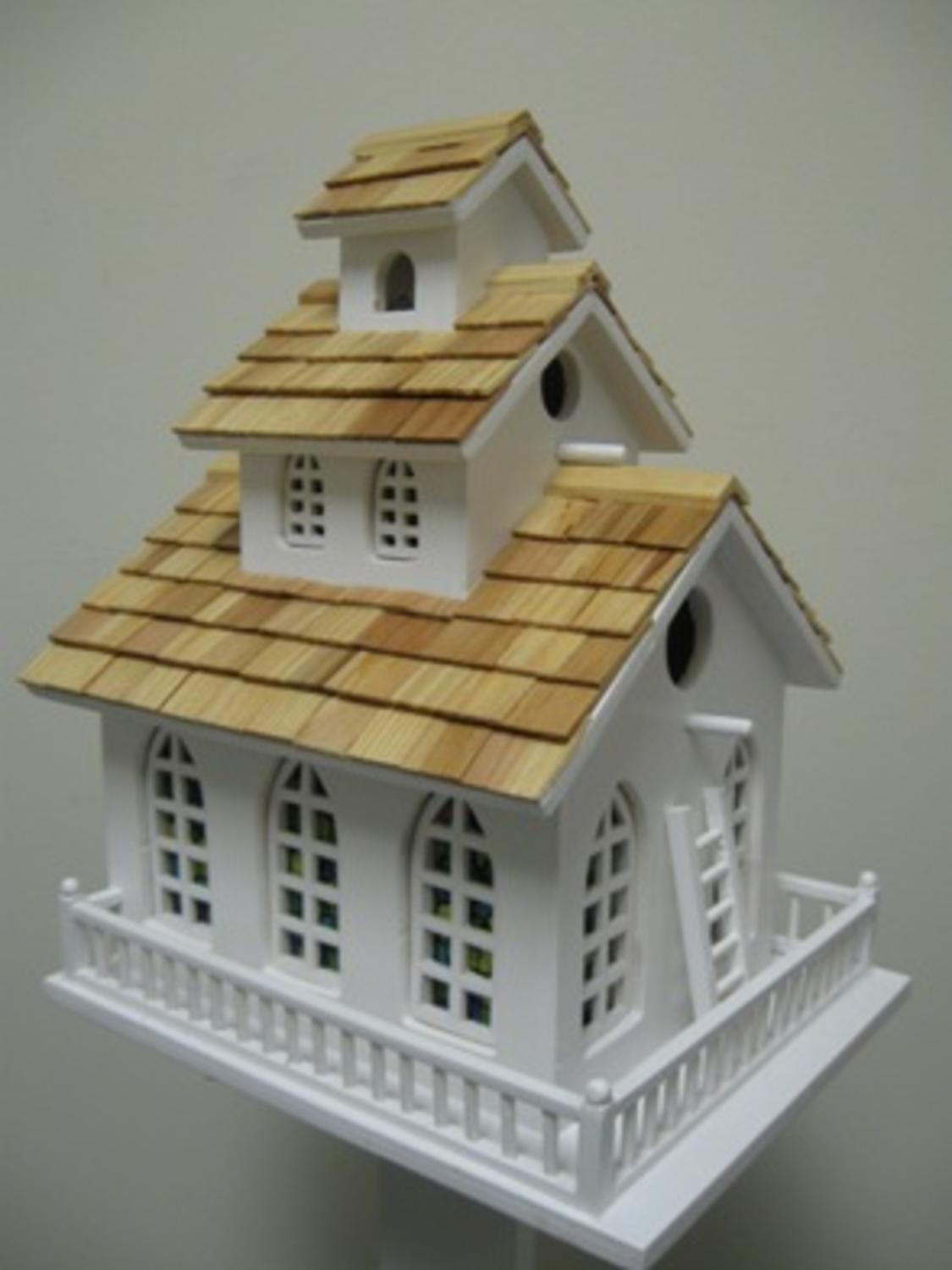 Fully Functional Traditional Church Inspired 3-Story Birdhouse by CC Home Furnishings