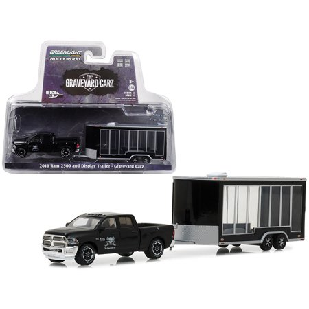 "2016 Dodge Ram 2500 & Display Trailer Black ""Graveyard Carz"" 2012 TV Series Hitch & Tow Series 13 1/64 Car by Greenlight"
