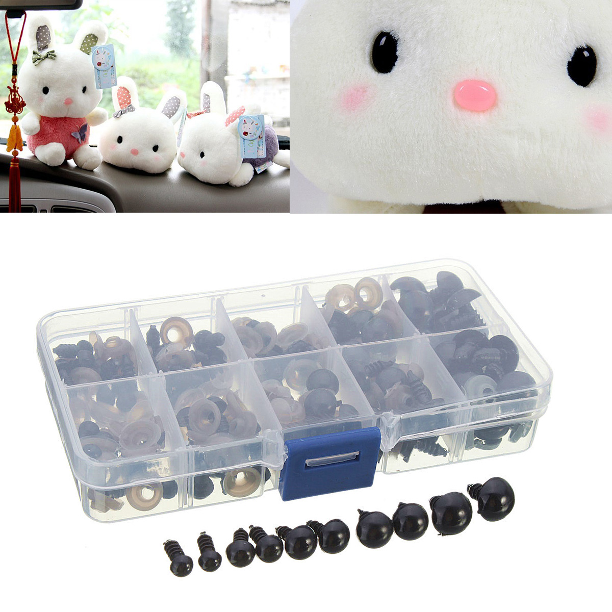 Puppet Plush Animal Making Teddy Bear 6mm-12mm Solid Black Eyes with Washers,Plastic Safety Eyes,Craft Doll Eyes,for Doll 100pcs,with Case