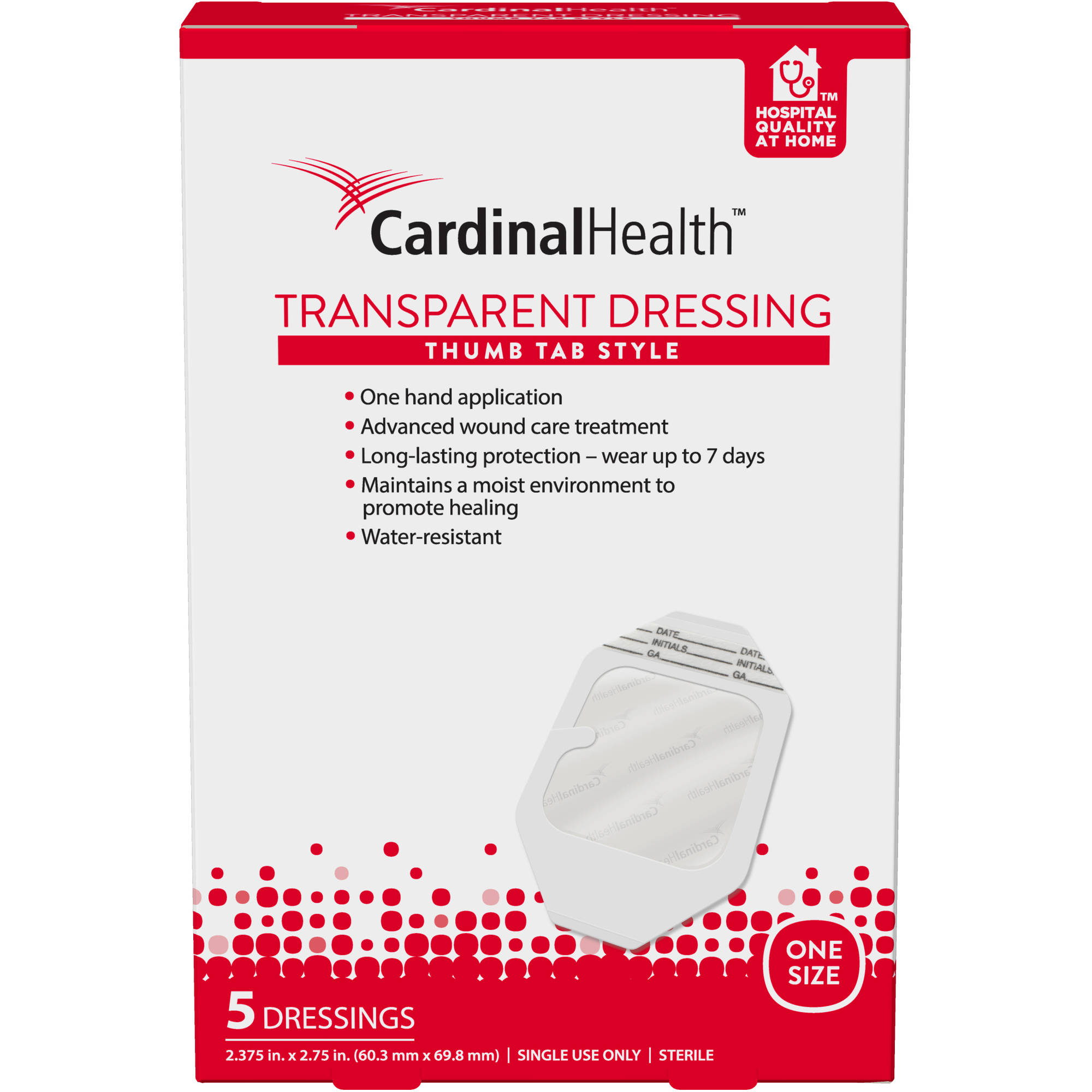 Cardinal Health 2.375x2.75-Inch Thumb Tab Transparent Dressing 5 Count