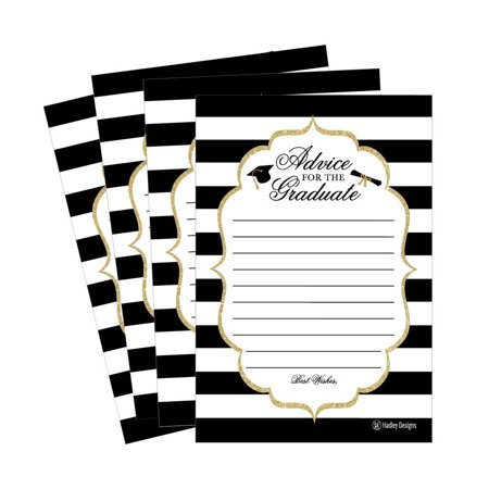 25 Graduation Advice Words of Wisdom Cards For Graduate Class of 2018 College, High School, University Grad, Funny Black and Gold Party Games Presents Activities Keepsakes for 4x6 photo album - Graduation Party Activities
