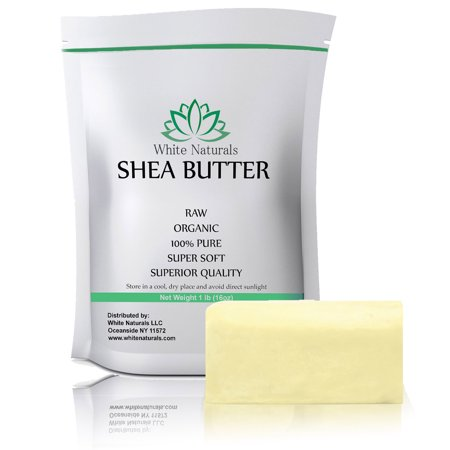 Organic Shea Butter 1 lb Pure, Raw, Unrefined, Grade A, Perfect Skin Moisturizer, DIY Lip Balms, Stretch Marks, Eczema, Acne, Recover Sun Damage, Kids Cream by White