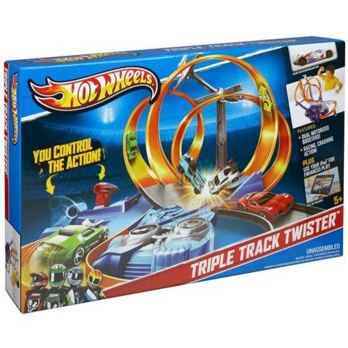 Mattel Hot Wheels Triple Track Twister Raceway Speedway Playset with Bonus Triple Track Twister 5 Car Set