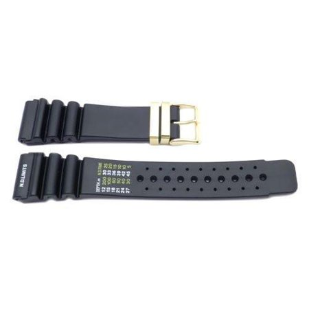 Black Citizen Style 24mm Watch Strap w/ Gold Tone Stainless -