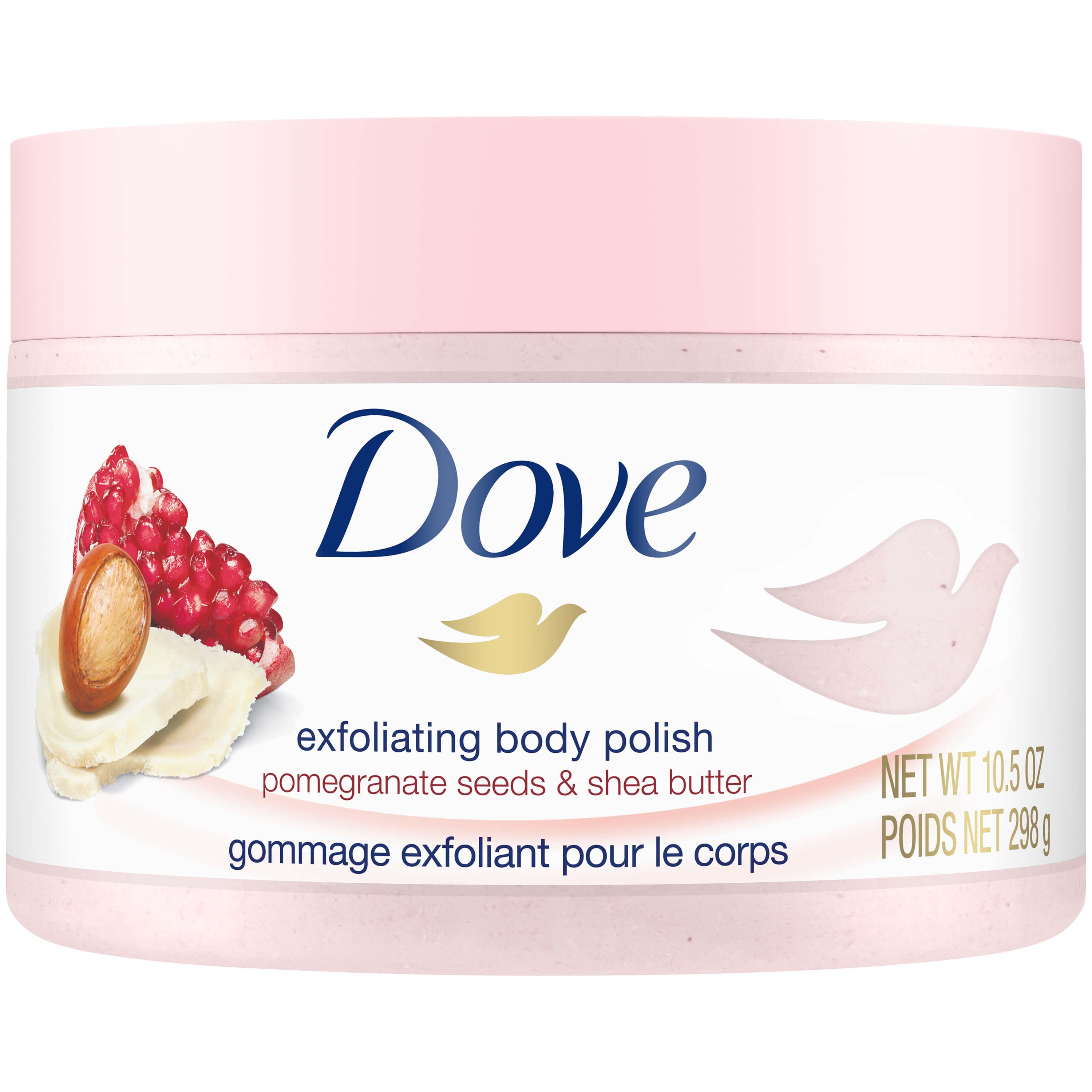 Dove Exfoliating Body Polish Pomegranate & Shea Body Scrub, 10.5 oz